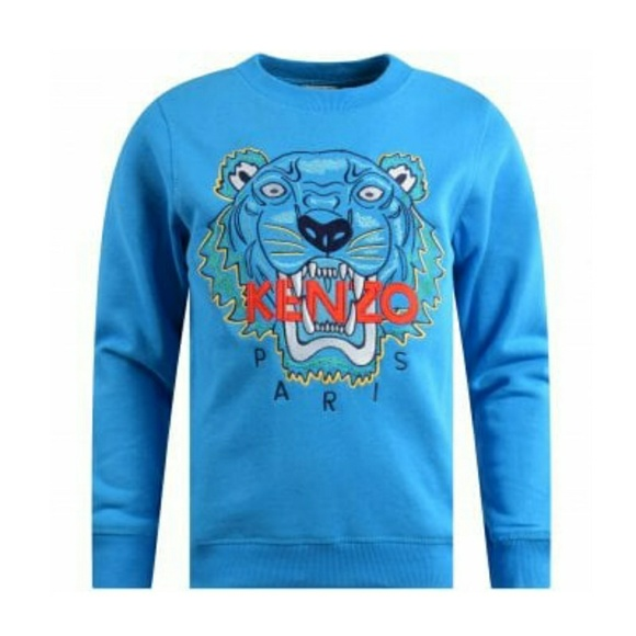 988e4350 Kenzo Shirts & Tops | Scuba Blue Embroidered Tiger Sweatshirt | Poshmark